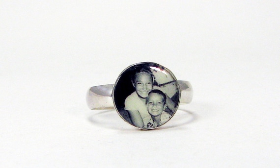 Custom Sterling Silver Photo Tile Ring - 12mm - C6Ri