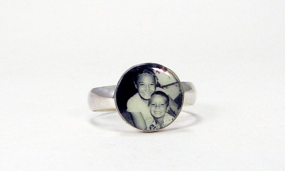Custom Sterling Silver Photo Tile Ring - 12mm - C6Ri