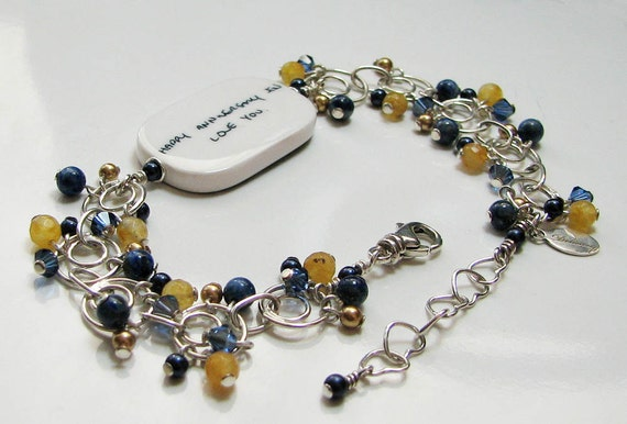 Custom Photo Charm Bracelet with dangles of Crystals, Pearls, Yellow Agate & Lapis   - P1RB5a