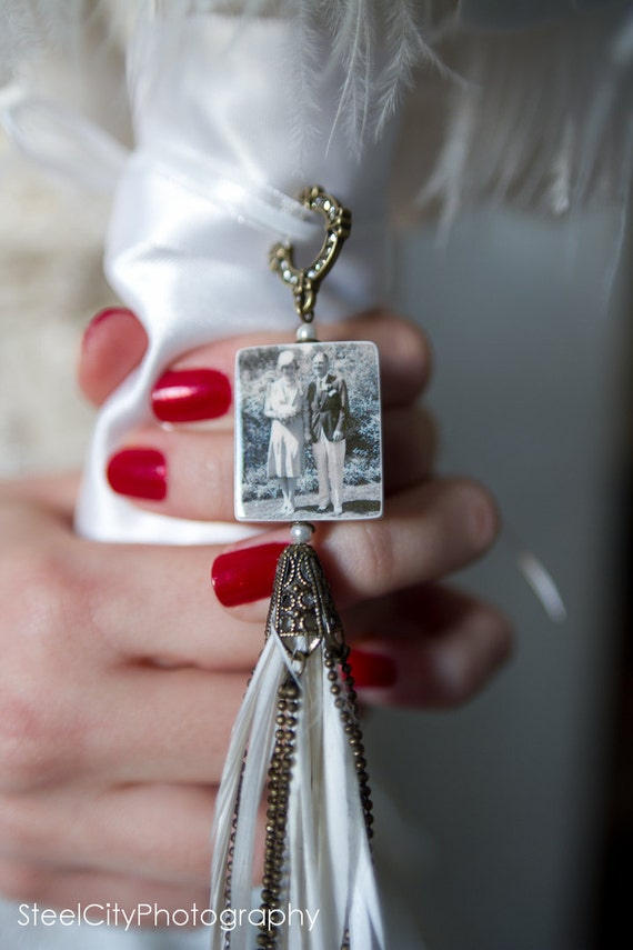 Vintage Style Bridal Bouquet Photo Memorial Charm with an Eclectic Flair - Medium - BC2Fa