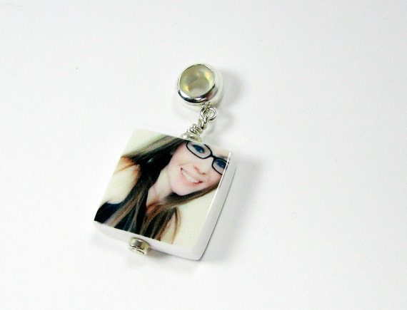 Photo Charm on a Large Hole, Sterling, Round Bail - C5F - XSM