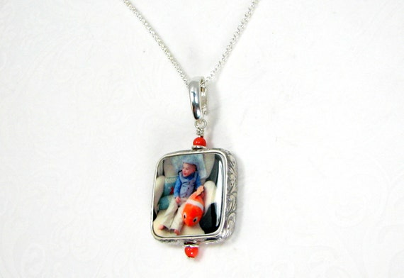 Photo Pendant Framed in a Sterling Floral Frame- Small Handmade Photo Jewelry - FP3RFN