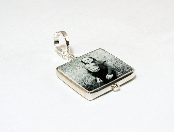 "Half-Round Framed Photo Pendant on a Hinged Fancy Bail - Small (.75"")"