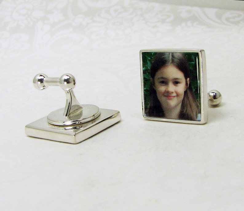 Sterling Silver Photo Cuff Links with Ball-Ends
