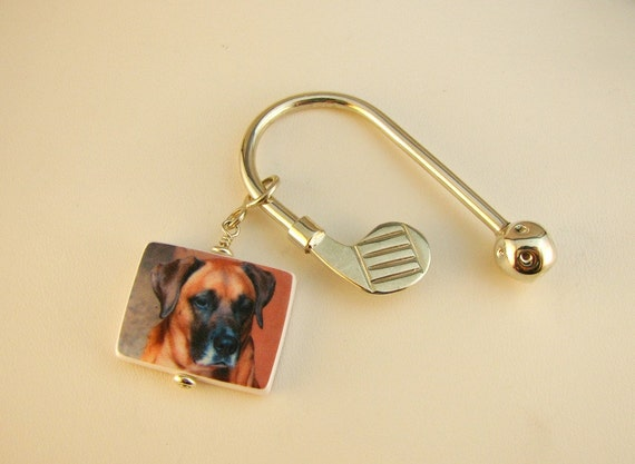 A Great Father's Day Gift For The Golfer - Key Holder in Sterling Silver with Custom Photo Charm