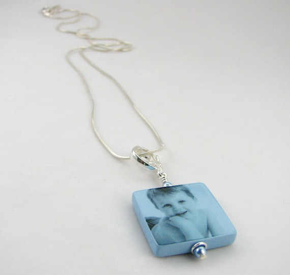 Blue Photo Pendant - Small - Handmade Photo Tile Jewelry - P3fN