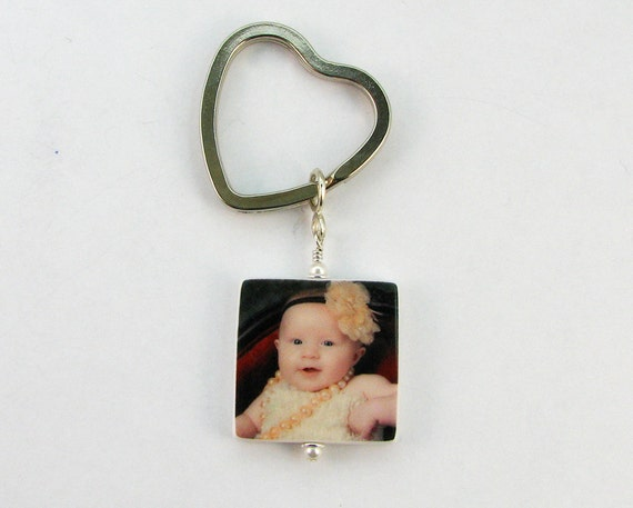 Heart Key Ring With 1 two-sided Photo Charm - P2a