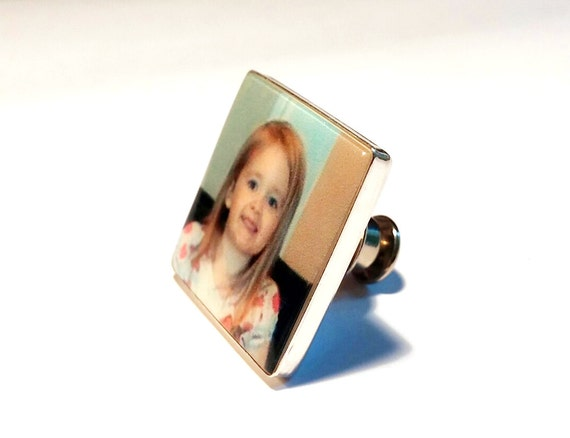 Square, Personalized Sterling Silver Framed Photo Tie Tac Accessory - PT3a