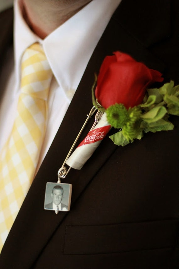 Boutonniere Pin / Corsage Pin Photo Charm - Medium Memorial Charm - BPP2