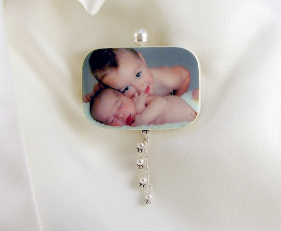 Magnetic Custom Photo Tile Brooch - 04MBa