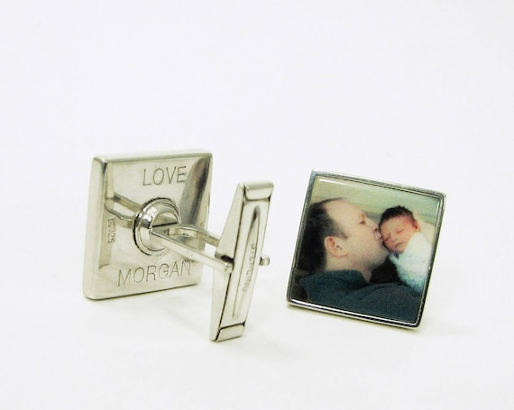 Engraved Sterling Silver Photo Tile Cuff Links