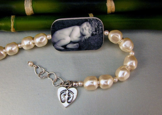 Custom Baroque Pearl, Lg. Photo Tile Bracelet - P1RaB3