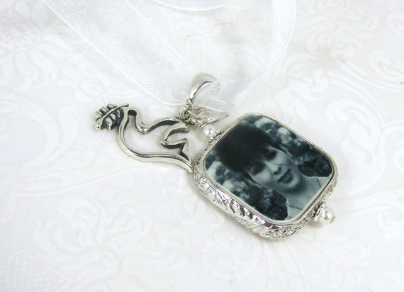 Photo Bouquet Memorial Charm - Silver Dove with Olive Branch charm - Medium - FBC2RFa