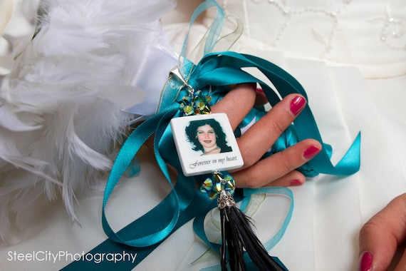 Eclectic Bridal Bouquet Photo Memorial Charm in Peacock Colors - Large - BC1Fa