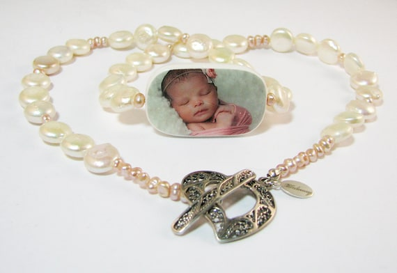 Pearl Necklace with Two-sided, Custom Photo Pendant - P1RN
