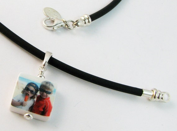 Black Rubber Cord Necklace with Mini Custom Photo Pendant - C4N