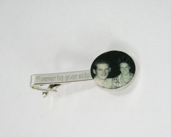 Engravable Sterling Silver Photo Tie Clip