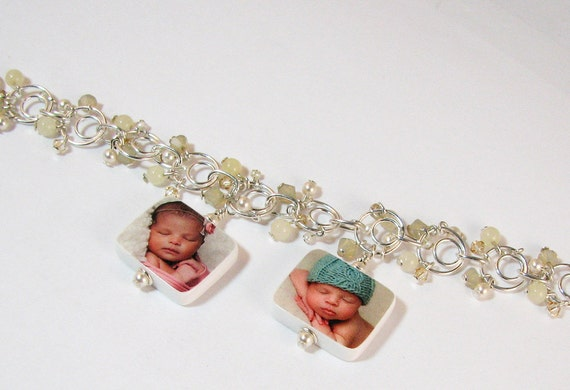 Custom Photo Charm Bracelet with dangles of crystals, gemstones and pearls - P3x2B6a
