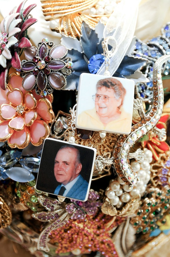 Memorial Photo Charms - 2 Custom Bouquet Jewelry Charms