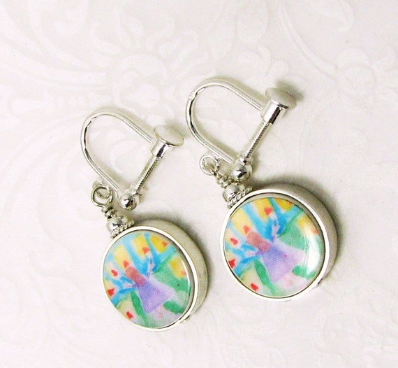 Photo Charm Earrings made with a Child's Artwork - FC8FlE