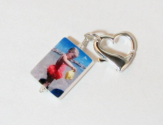 "Custom Photo Charm on a Large Heart Shaped Clasp - Medium (1"")"