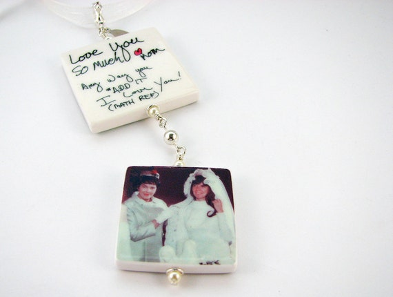Wedding Bouquet Photo  Charms, 1 Lg. & 1 Med. - Custom Memorial Bouquet Jewelry