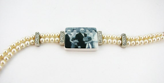Vintage Style Pearl Photo Charm Bracelet - Medium