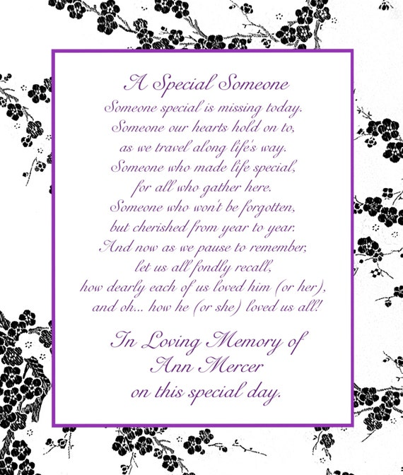In Loving Memory Cards - Custom Wedding Memorial Poem - DIGITAL FILES - DIY Printable - A Special Someone