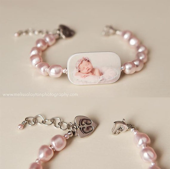 Custom Pearl Bracelet, Photo Charm with Newborn Footprint Charm - P1RaB3