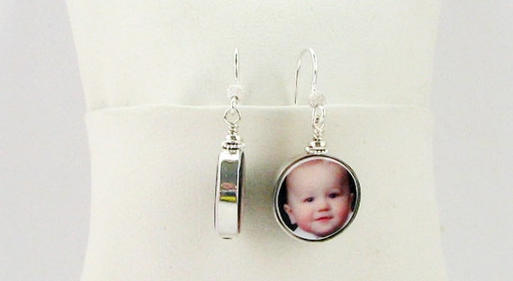 Sterling Framed Photo Charm Earrings - Handmade Photo Jewelry - FC8FlE