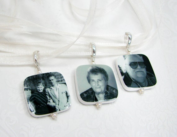 3 Wedding Bouquet Photo Memorial Charms. Medium Photo Charms with Rounded Corners - BC2Rx3