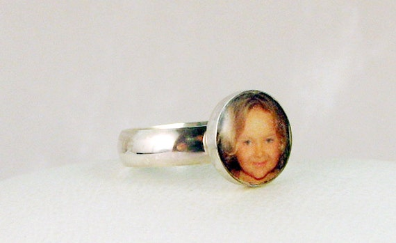 Sterling Silver Photo Tile Ring - 10 mm Round - C8Ri