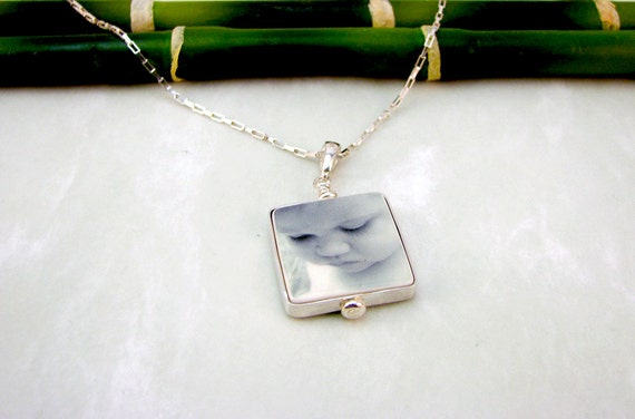 Photo Charm Necklace with a Sterling Frame - Small - FP3FlN