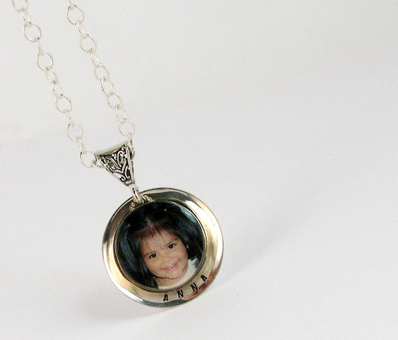 Sterling Name Tag Necklace with a Bezel Framed Photo Charm - 18mm Round - C15fNa