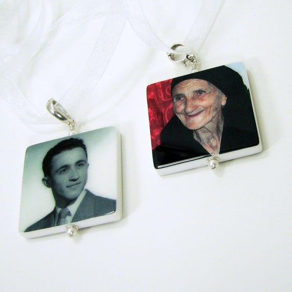 Bridal Bouquet Jewelry, Memorial Photo Charms - 2 Lg. Custom Pendants