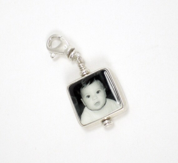 Mini Photo Charm on a swivel lobster claw clasp - easy to add to your bracelet.
