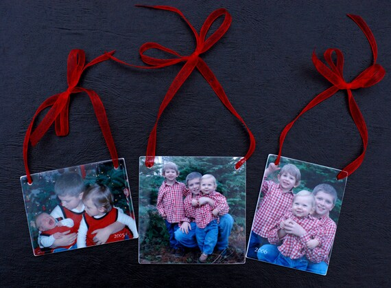 Set of 3 Photo Ornaments for your Christmas Tree - OOSx3