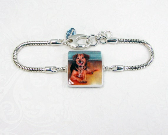 Snake Chain Bracelet with a Photo Charm - P3B9