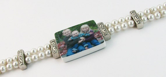 Vintage Style Pearl Photo Charm Bracelet - Medium - P2B2
