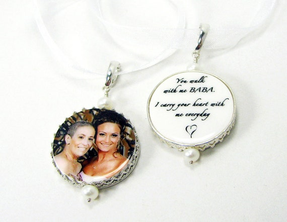 Bridal Bouquet Memorial charms framed in sterling - Bouquet Jewelry