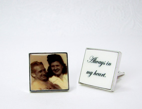 Sterling Silver Cuff Links Personalized with an Inlaid Photo Tile - A great gift for your Groom