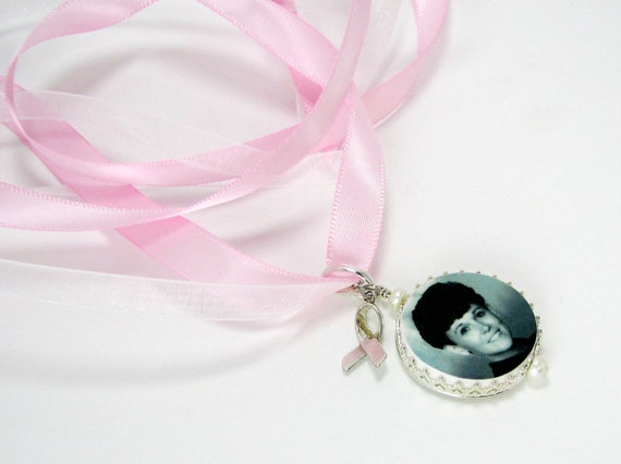 Photo Memorial Jewelry with a Sterling Cancer Awareness Ribbon charm