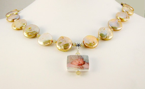 Bronze Coin Pearl Necklace with Two-sided, Custom Photo Pendant - P3fN