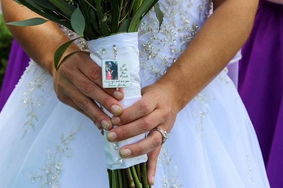 Bridal Bouquet Memorial Photo Charm - Custom Bouquet Jewelry