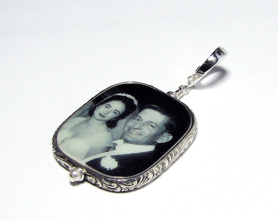 "Floral Framed Photo Pendant on a Hinged Fancy Bail- Large - (1.25"")"