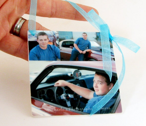 Senior Portrait Collage Ornament for your Christmas Tree - One-sided Holiday Decoration - OOS
