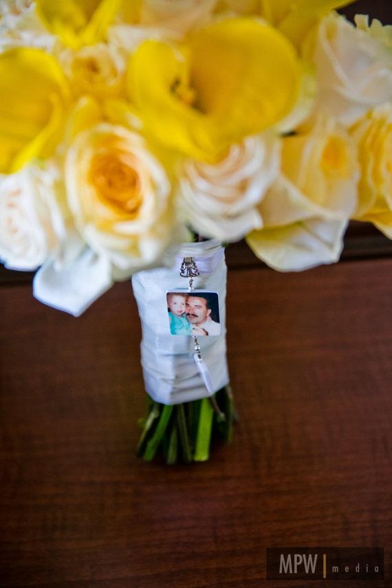 Double Dangle Bridal Bouquet Photo Charms - 1 Lg. & 1 Sm. - Custom Bouquet Jewelry - BC1T3F