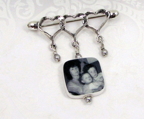 Sterling Heart Brooch with Photo Charm - BPP6