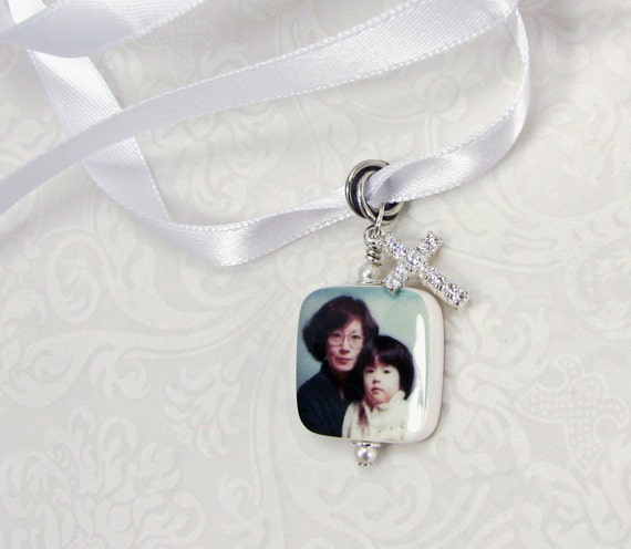 Memorial Photo Charm with a Cross Charm covered in rhinestones - BC3RFa