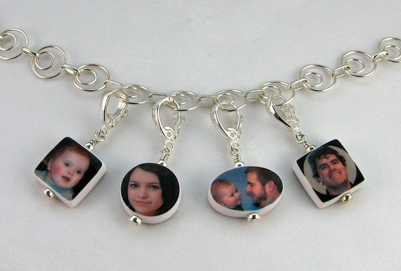 For Mom - Photo Charm Necklace With 4 Dangling Charms - C8C9C4x2N